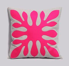 Decorative Hawaiian Pillow Cover Neon Pink And Light Gray By Pillowation contemporary pillows Bright Pillows, Pink Pillows, Throw Pillows, Contemporary Pillows, Hawaiian Pattern, Hawaiian Quilts, Textiles, Decorative Pillow Covers, Cushion Covers