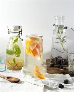 26 Delicious Flavored Water Recipes: Three Flavored Waters - Blackberry Sage, Mixed Citrus and Ginger Mint