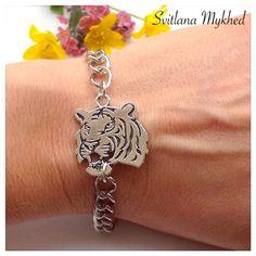 """Bracelet chaine réglable Bracelet """"Tigre. Force. Animal sauvage"""". Bracelet de l'amitié, de l'amour à offrir ou s'offrir... : Bijoux pour hommes par perles-et-couronnes"""