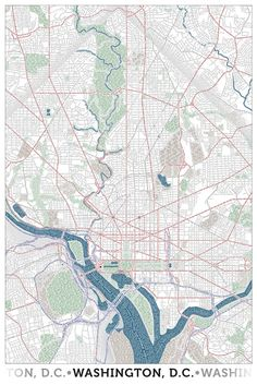 Map of DC (and other cities) made entirely out of type, including streets, parks, and landmarks.