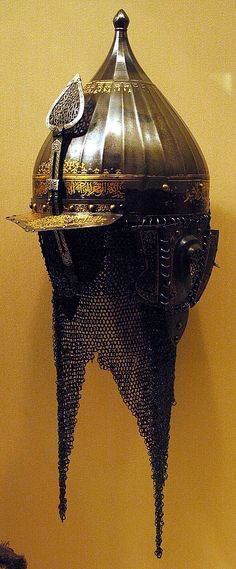 Chichak, a type of helmet (migfer) originally worn in the 15th-16th century by cavalry of the Ottoman Empire, consisting of a rounded bowl with ear flaps, a peak with a sliding nose guard passing through the peak, and an extension in the back to protect the neck. Various other countries used their own versions of the chichak including Mughal India, in Europe the zischagge helmet was a Germanisation of the original Turkish name. The Metropolitan Museum of Art, New York.