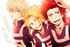 Boku no Hero Academia | Bokugo, Kaminari, and Kirishima (left to right)