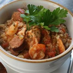 Colleen's Slow Cooker Jambalaya- I would add a little bit more tomatoes and a can of red beans to add substance to this but it is delicious!