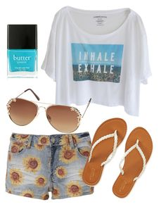 """Cute outfit 6"" by gardengirl6600 ❤ liked on Polyvore featuring Aéropostale, Butter London, Dorothy Perkins, nails, sun, Blue and sunflower"