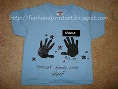 Momma's Handy Little Helper keepsake shirt.  Cute idea for Puggles or Cubbies -- God's helping hands.