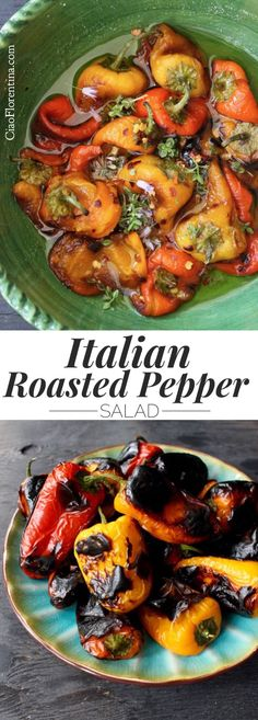Italian Roasted Pepper Salad Recipe with Italian Dressing and Herbs | CiaoFlorentina.com @CiaoFlorentina