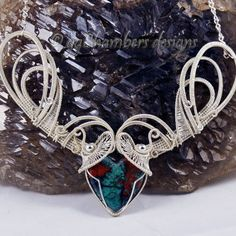 Sterling Silver Woven Wire with Sonoran Sunrise Heart Necklace