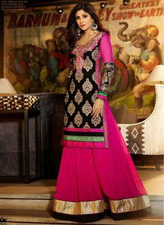 Shilpa Shetty Black and Hot Pink Embroidered Designer Salwar Kameez