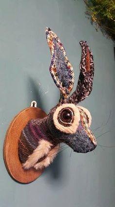 Hare Head Faux Taxidermy Wall Mounted Rabbit Animal Head Jack