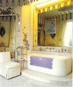 Duchess of Windsor's bathroom/Paris featuring a Lavender D. Porthault  bath mat .