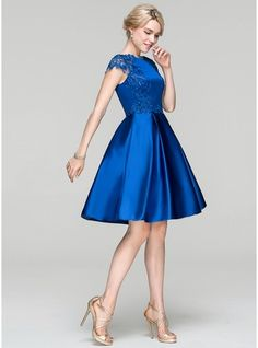 c064d3070e75 A-Line/Princess Scoop Neck Knee-Length Zipper Up Cap Straps Sleeveless No Royal  Blue Spring Summer Fall General Plus Satin Height:5.7ft Bust:33in  Waist:24in ...