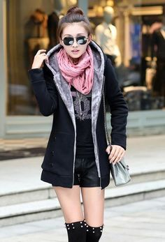 Fashion Korean Style Autumn Winter Women Coat Warm Thick Fleece Jacket Outerwear Hoodies Sweatshirts