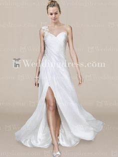 Chiffon One-Shoulder Wedding Gown with Lace BC444N  You would look georgous in this look at the back