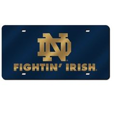 Notre Dame Fighting Irish  Mirror License Plate Laser Tag #JockUniversity #NotreDameFightingIrish