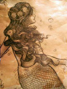 merstuff: Tea-stained Mermaid drawing by *kara-lija