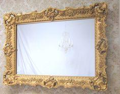 "HOLLYWOOD REGENCY MIRRORS For Sale 45""x33"" Large Vanity Mirror Baroque Ornate Gold Framed Bedroom Mirror Framed Mirror for Bedroom by RevivedVintage on Etsy"