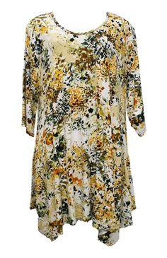 AKH Fashion Lagenlook ausgefallene Blumen Tunika Shirt in gelb große Größen bei www.modeolymp.lafeo.de