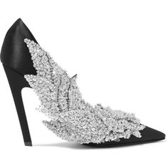 Balenciaga Sequin-embellished satin pumps ($2,850) ❤ liked on Polyvore featuring shoes, pumps, black, black shoes, black satin pumps, slip-on shoes, evening shoes and high heel shoes