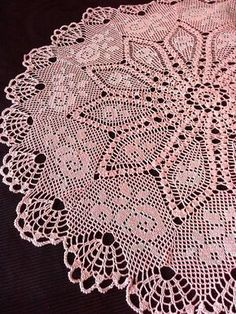 Pink crochet tablecloth Crochet doily Crochet lace Big by OlLace