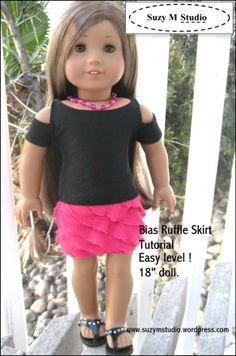 "SuzyMStudio Ruffle fabric skirt for  18"" dolls"