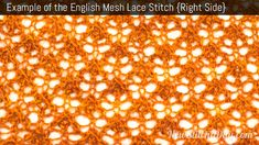 Example of the English Mesh Lace Stitch. (Right Side)
