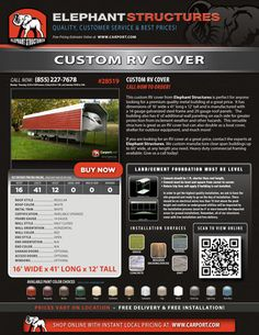 The two car metal garage has two large roll-up doors on the front wall for your vehicles. There is also an entry door and window on the side wall. To customize this premium metal garage, or for a free consultation, give us a call today! Metal Rv Carports, Metal Garages, Metal Storage Buildings, Two Car Garage, Rv Garage, Steel Garage, Garage Doors, Garage Art, Brown Roofs