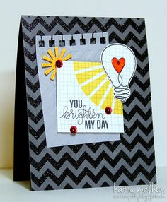 You Brighten My Day Card by Katie Melhus. Using Watt's Up Stamp Set by Simon Says Stamp Card Kit, Card Tags, Fathers Day Cards Handmade, Rainbow Balloons, Cards For Friends, Simon Says Stamp, Masculine Cards, Kids Cards, Homemade Cards
