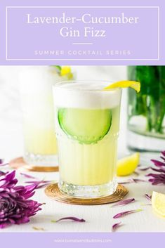 Looking for a refreshing, easy summer cocktail? This cucumber lavender gin fizz is just what you need when you're craving a refreshing summer gin cocktail. #ginfizz #lavendercocktail #cucumbercocktail #cucumbergincocktail #lavendergincocktail #summercocktails Easy Summer Cocktails, Fun Cocktails, Fun Drinks, Yummy Drinks, Beverages, Cucumber Gin Cocktail, Gin Cocktail Recipes, Drink Recipes, Dessert Recipes