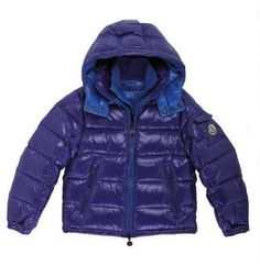 Moncler Kids Blue Zin Baby Collar Down Jacket