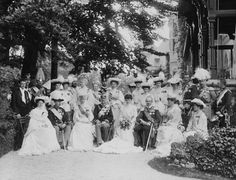 Group photograph at the wedding of Grand Duke Friedrich Franz of Mecklenburg-Schwerin and Princess Alexandra of Cumberland at Gmunden. June 7, 1904.