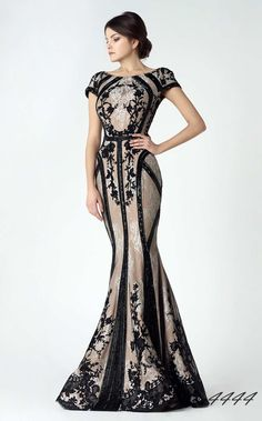 Saiid Kobeisy Black And Champagne Mermaid Long Evening Fomral Gwns 2017  Short Sleeve Lace Applique Beaded Arabic Occasion Prom Dresses Evening  Designer ... 1c085b18b