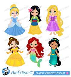 Classic Princess Digital Clipart: PRINCESS 1 by Alefclipart