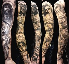 If I could have this for a sleeve, I wouldn't even think twice about getting it! black & grey sleeve tattoo, day of the dead, jesus, roses, gothic style
