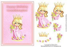 Little Princess Birthday Topper Decoupage Granddaughter on Craftsuprint - Add To Basket!