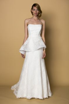 Popular  Wedding Dresses With Creative Peplums from the Spring Runways