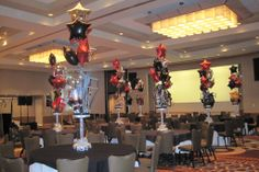 Clusters of mylar star balloons coming out of centerpieces add a fun and festive look. Event Planners, Bar Mitzvah, Sweet Sixteen, Balloon Decorations, Banquet, More Fun, Red Carpet, Festive, Balloons