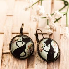 cat earrings cat jewelry cat lover glass dome earrings by dauz,