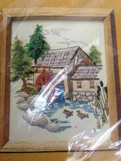 """1979 CREATIVE CIRCLE CREWEL EMBROIDERY KIT 512 PINE VALLEY MILL 8X10"""" WATERWHEEL #TheCreativeCircle"""