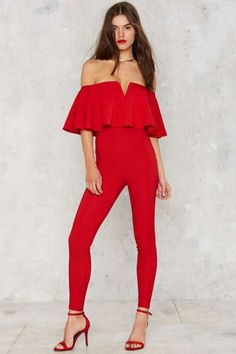 Ruffle Around the Edges Off-the-Shoulder Jumpsuit   Shop Clothes at Nasty Gal!