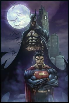 The Bat and Supes art by Ed Benes