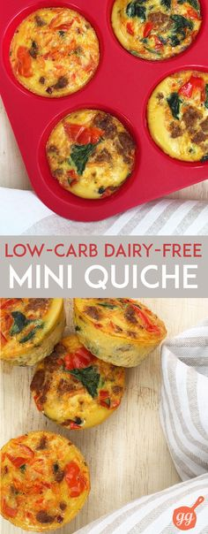 Mini Quiche: tiny, HEALTHY, portable options for breakfast or a snack (dairy free, gluten free, paleo) | GrokGrub.com