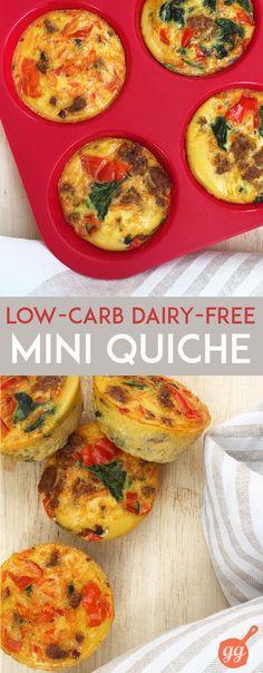 Mini Quiche: tiny, healthy, portable snack or breakfast option (dairy free, gluten free, paleo) | GrokGrub.com