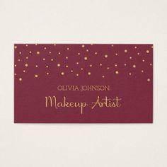 #makeupartist #businesscards - #Chic Burgundy & Gold Makeup Artist Business Cards
