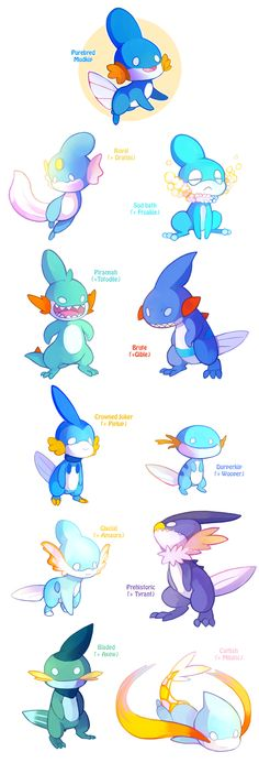Mudkip Variations by HERthatDRAWS on DeviantArt