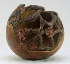 Hand Carved Gourd.  Butterfly, vines, and flowers.  OOAK TJ Kleens