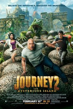 Journey 2: The Mysterious Island movie poster with Dwayne Johnson, Vanessa Hudgens, Michael Caine, and Josh Hutcherson.