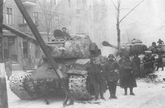Soviet IS-2 heavy tanks in Poznan.