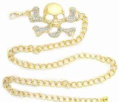 Golden Rhinestone Skull Buckle with Chain Belt