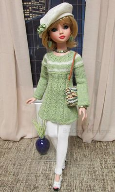 OOAK  Fashion for Evangeline Ghastly & Ellowyne Wilde: Includes two pair of pants, handknit pistachio green Tunic Sweater, Silk Noil Beret, multi-colored tweed Hand Bag with shoulder strap, Scarf & Jewelry, by bccan33 via eBay ends 3/23/14 Bid $50.95. Sold for $50.95.