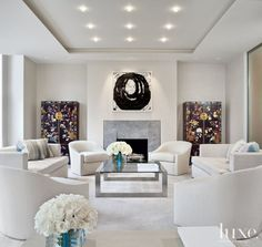 Modern White Living Room with Floral Cabinets